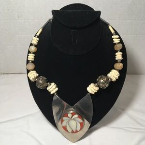 Boho Sterling Pearl  Gobi Agate Unisex Necklace